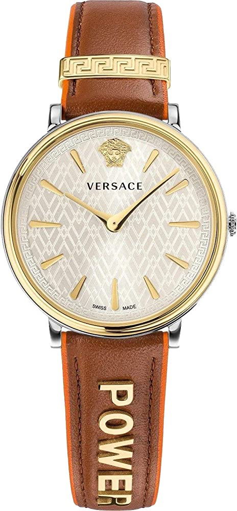 Versace,v-circle,orologio per donna,cassa in acciaio inossidabile e cinturino in vera pelle VBP070017