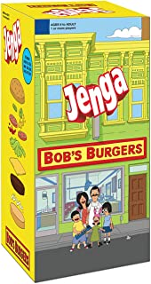 USAOPOLY Bob's Burgers Edition Jenga Game|Move Your Characters Up The Blocks to Score Points|Play As 1 of 6 of Your Favorite Characters|Custom Blocks are Traditional Burger Ingredients