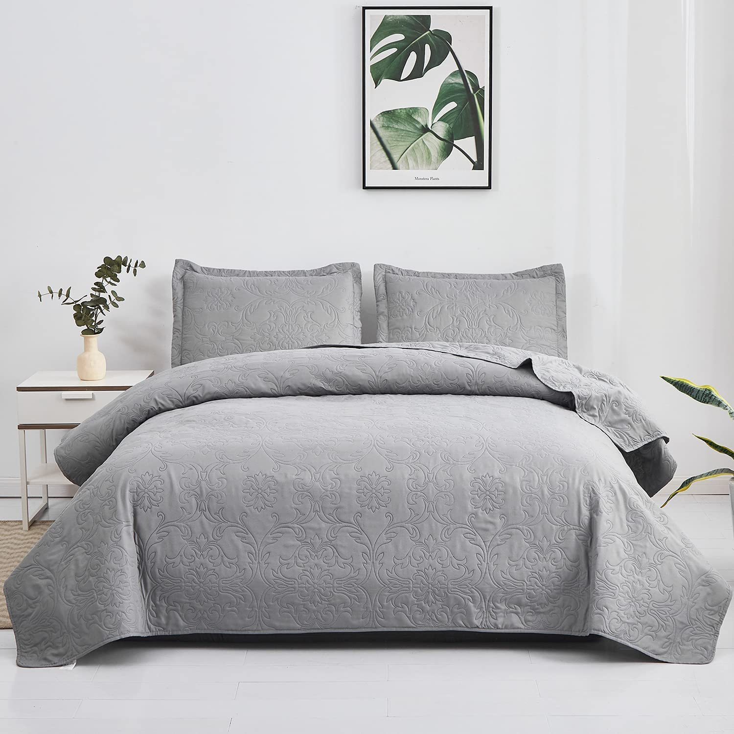 3-Piece Quilt Set Twin Size Reversib Embossing Gray Lightweight High quality online shopping
