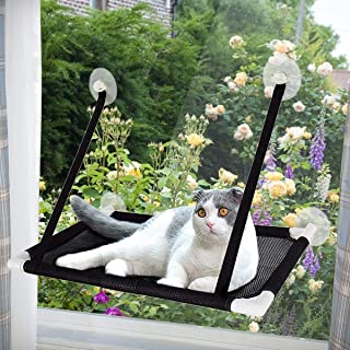 Cat Window Perch Hammock Bed Cooling Breathable Deck Window Suction Cups Seat Cat Shelves Sunbath Hammock Bed for Cat Hold...