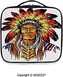 SCOCICI Printed Portable Storage Bag Native American Chief in Color Palette Hand Drawn Style Indigenous Cultures Decorative with Adjustable Compartments and Brush Slots