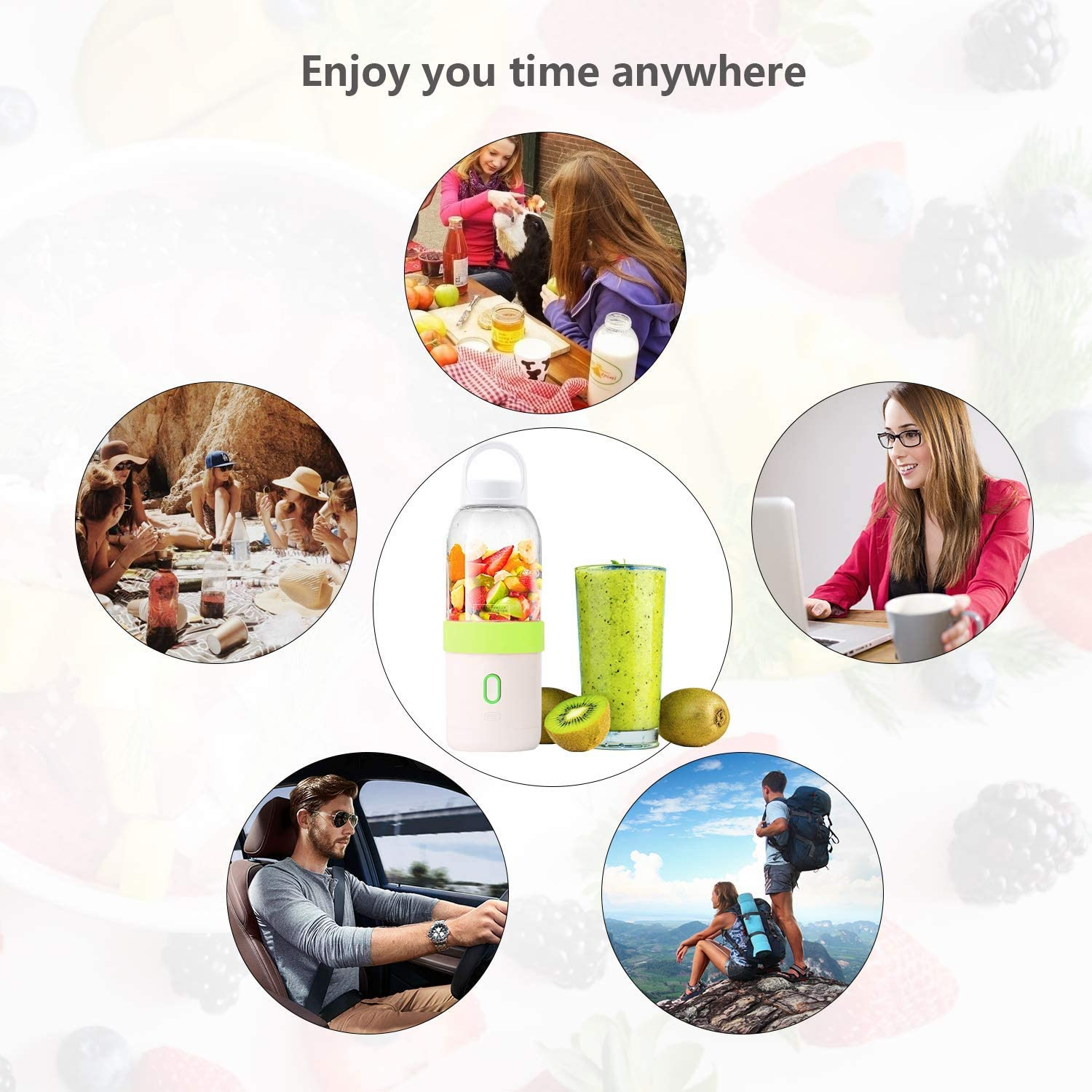 Yiloo Portable Juicer Blender Juice Protein Shaker Fruit Mixer Smoothie Maker for Single Served,Blender Cup W//Juicing Mixing for Home Office Outdoors Sports Hiking Travelling Kitchen Dining Pink