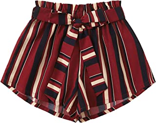 Milumia Women High Waist Belted Business Work Casual Paper Bag Striped Shorts