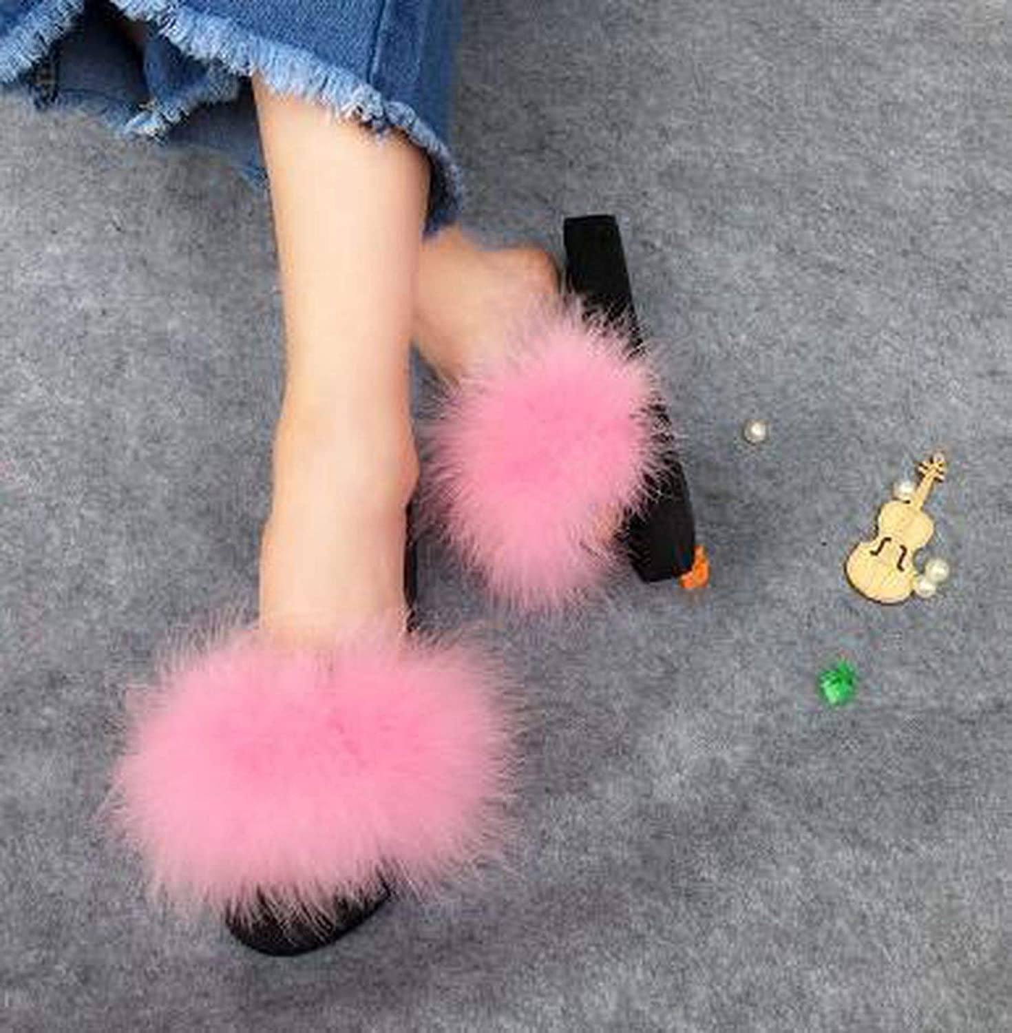 High end Fur Slippers Women Sliders Casual Fox Hair Flat Fluffy Home Summer Big Size 45 Furry Flip Flops shoes Wholesale, Hair,6.5