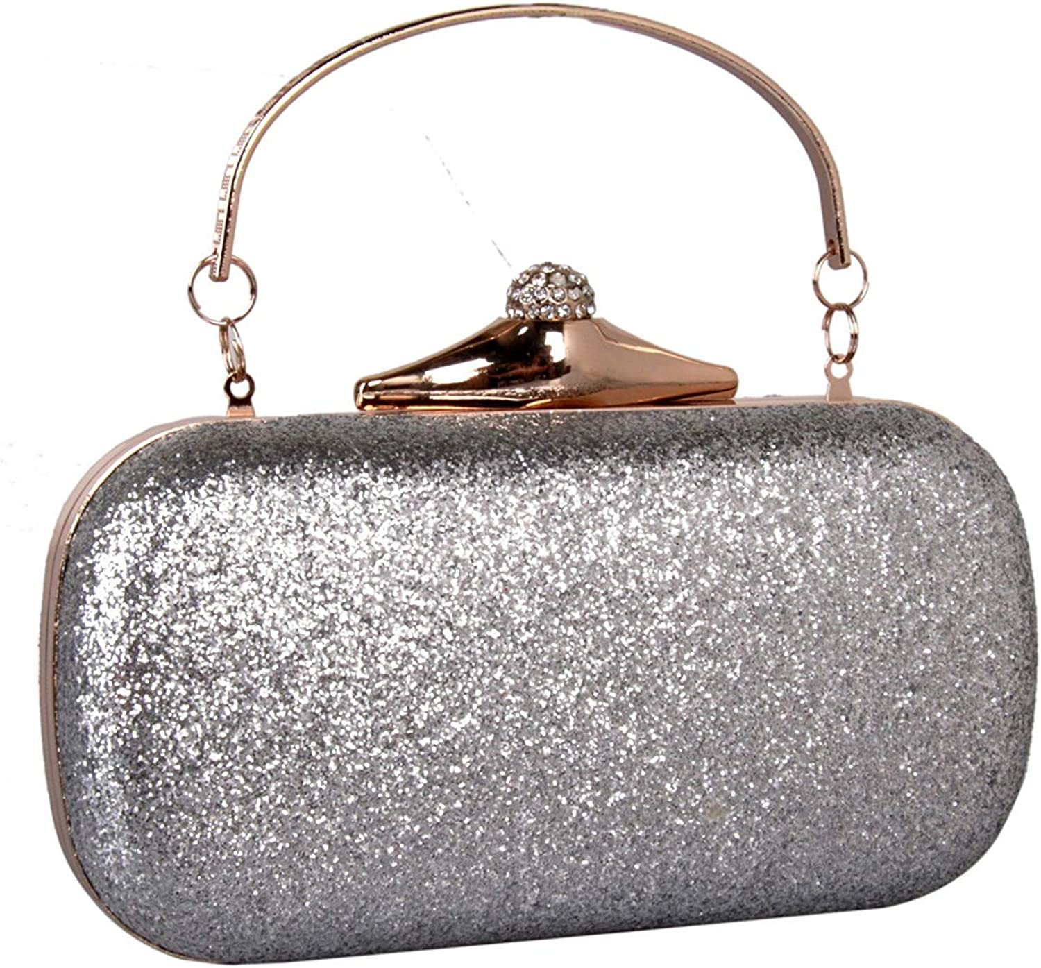 Ladies Handbag Ms. Hand Bag Piece Xiaoliang Yanbao Glitter Frosted shoes Ladies Hand Bag Simple Leather Bag (color   Silvery)