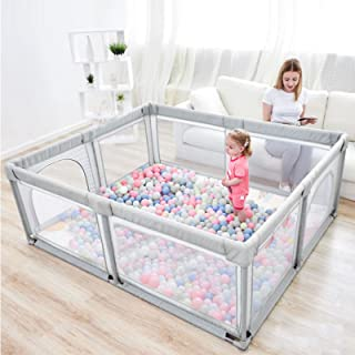 Baby Playpen, Indoor & Outdoor Kids Activity Center with Anti-Slip Base, Sturdy Safety Play Yard with Super Soft Breathabl...