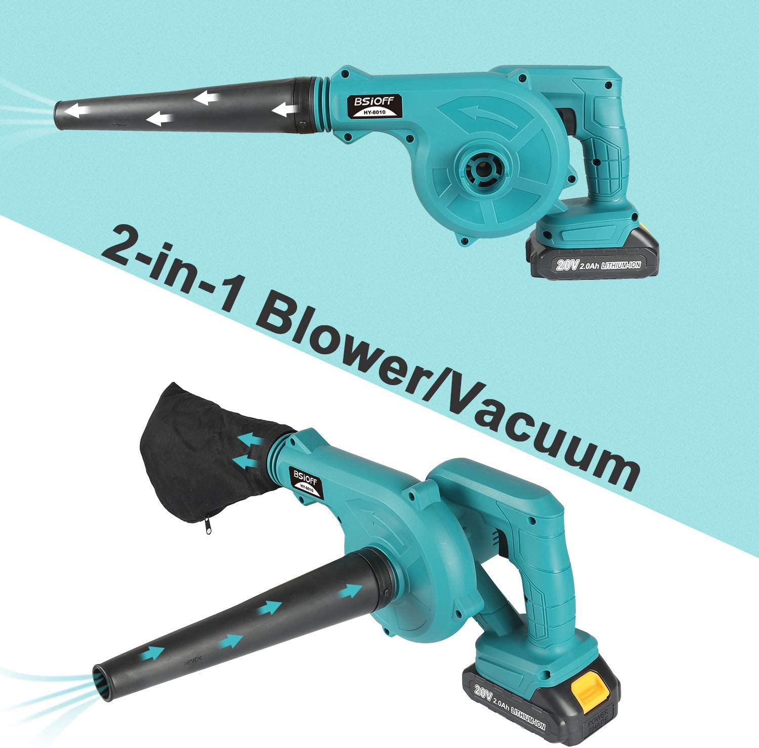 Bsioff Leaf Blower//Electric blower//Cordless blower Lithium ions, air volume 2.8 m/³, idle speed: 0-18000 rpm, with a battery and charger