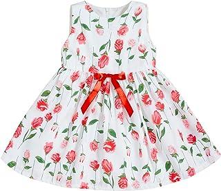 GRNSHTS Baby Girls Flower Print Buttons Ruffles Dress