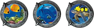 BooDecal Undersea Series 3pcs 3D Window View Undersea World Round Porthole Turtle Peel and Stick Removable Wall Decals Stickers for Bedroom Living Room 13 inches x 13 inches