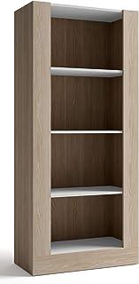 Miroytengo Biblioteca para salón Comedor librería 4 estantes diseño Moderno Abierto Color Blanco y Sable 180x80x40 cm
