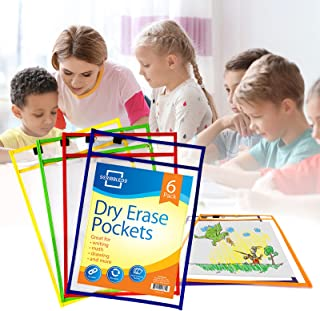 Scribbledo Dry Erase Pockets, 6 Pack Reusable Dry Erase Sleeves with Marker Holder, Colorful Dry Erase Pocket Sleeves for ...