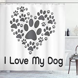 Ambesonne Dog Lover Decor Collection, I Love Dog Typography Typescript Text Heart Shaped Monochromic Veterinary Artwork, Polyester Fabric Bathroom Shower Curtain Set with Hooks, Gray White