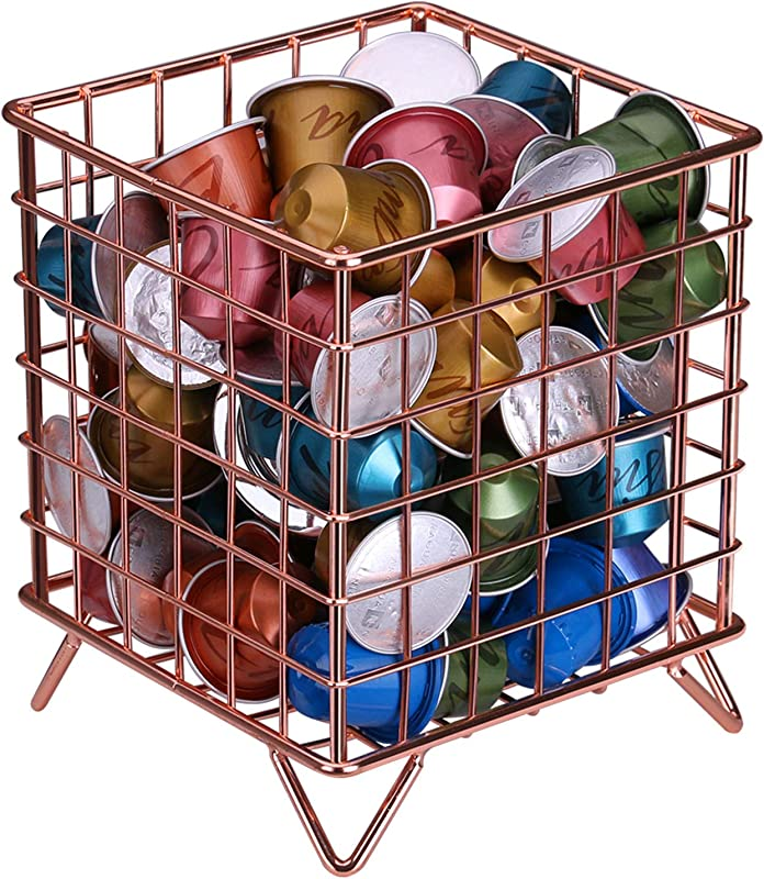 Coffee Pod Holder Nugorise Coffee Pod Organizer Metal Coffee Pod Storage Basket For Kitchen Office Cafe And Pantry Rose Gold