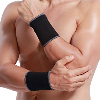 Neotech Care Wrist Band Support Sleeve (1 Pair) - Elastic & Breathable Knitted Fabric Compression Brace - for Tennis, Gym, Sport, Tendonitis - Black Color (Size S)