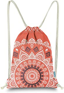 Miomao Drawstring Backpack Gym Sack Pack Mandala Style String Bag With Pocket Canvas Sinch Sack Sport Cinch Pack Christmas Gift Bags Beach Rucksack 13 X 18 Inches Orangered
