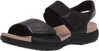 Aravon Women's Beaumont Two Strap Flat Sandal, Black, 6 Wide