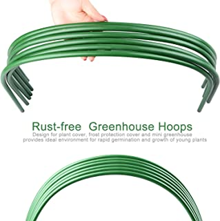Povkeever 6pack Greenhouse Support Hoop, 4 Foot Long Steel Plastic Coated Hoop Garden Growth Tunnel (Without Insect Net Insulation Film) - 120x48x48cm