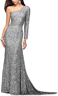 JINGDRESS Women's One Shoulder Sequin Mermaid Evening Dresses Long Sleeve Sparkly Maxi Prom Gowns