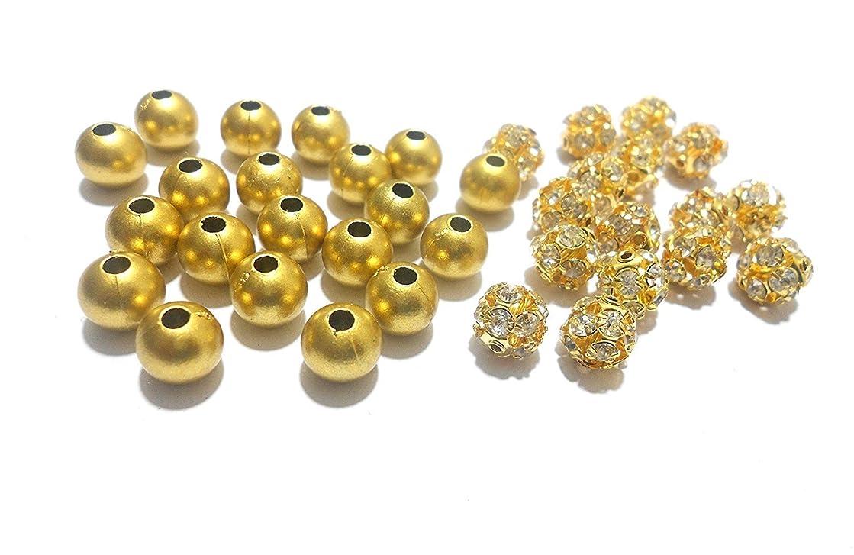 GOELX Stone Balls Crystal Shine & Gold Beads Jewelry Making Combo- 20 Balls & 100 Beads