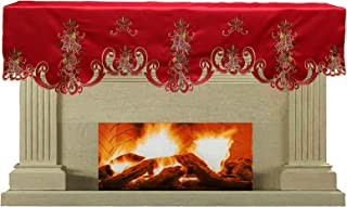 Creative Linens Holiday Christmas Mantel Scarf 19x70 Embroidered Bell Ornament Pinecone Winter Fireplace Decoration Red Gold