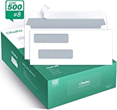 "Ohuhu 500 Pack # 8 Double Window Envelope SELF Seal Adhesive Tinted Security Envelopes Quickbooks Check, Business Check, Documents Secure Mailing, 3 5/8"" x 8 11/16"", White Envelope"