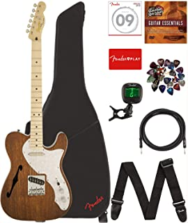 Fender Squier 0303035521, Classic Vibe Telecaster Thinline - Natural Bundle with Gig Bag, Tuner, Strap, Picks, Strings, Instrument Cable, and Austin Bazaar Instructional DVD