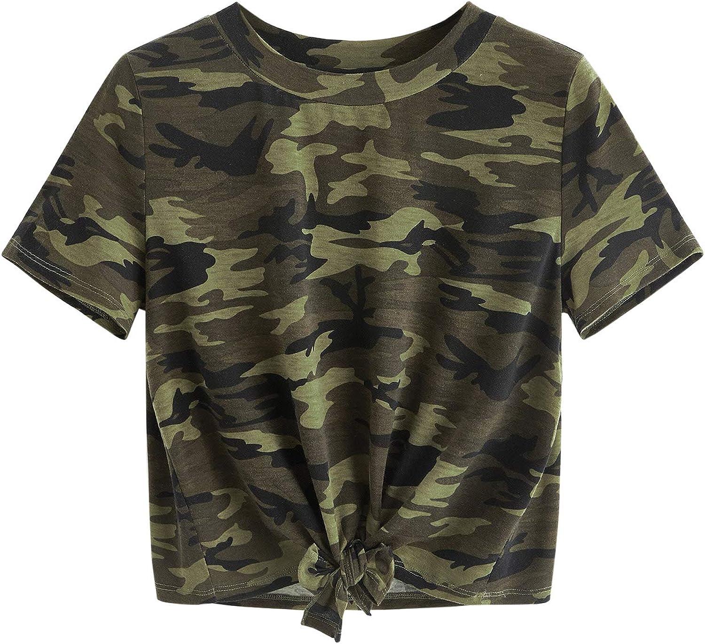 SweatyRocks Women's Short Sleeve Tie Dye Tie Hem Summer Crop T-Shirt Tops Blouse