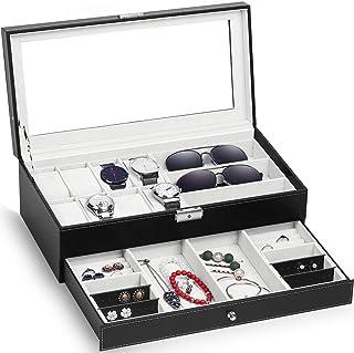 صندوق منظم للساعات تم تحديثه من توم كير، حامل ساعات ومجوهرات ونظارات شمسية واقراط، قابل للقفل، جزء علوي زجاجي ومصنوع من جل...