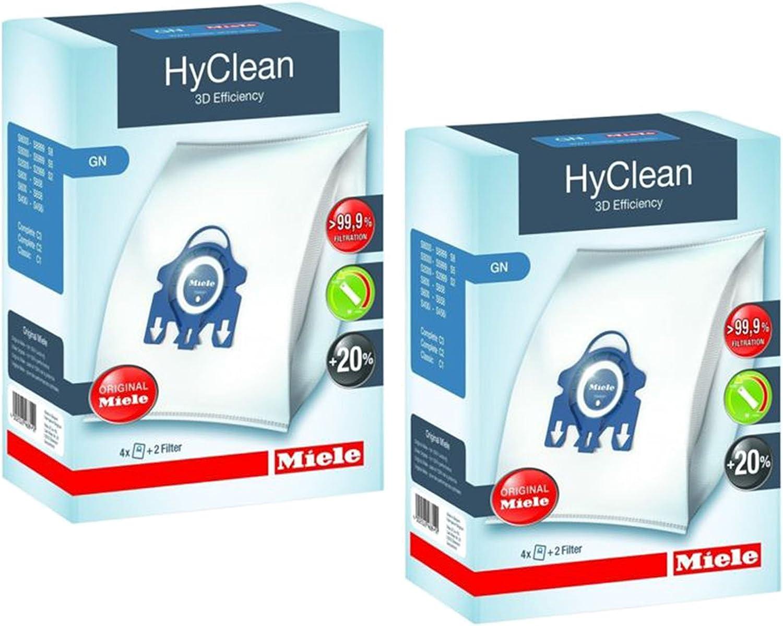 2 filtros AirClean 10 Unidades Bolsas de Polvo de Repuesto para aspiradoras Miele HyClean GN 3D Eficiencia Compatible con Miele S400 S600 S800 S2000,S5000,S8000 Series Rediboom