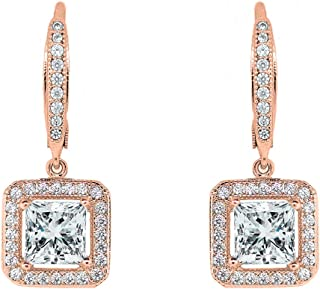 Cate & Chloe Ivy Faithful 18k Gold Plated Princess Cut Drop Earrings with Cubic Zirconia Crytals, Women's Gold Plated Earrings, Dangle Earrings for Women, Wedding Anniversary Jewelry