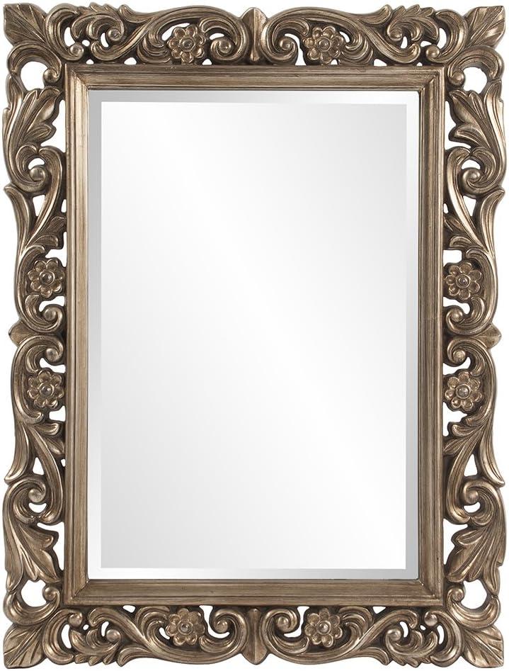Howard Elliott Chateau Rectangular Hanging Wall Mirror, Scroll Work Frame, French Pewter, 31.5 x 42 Inch
