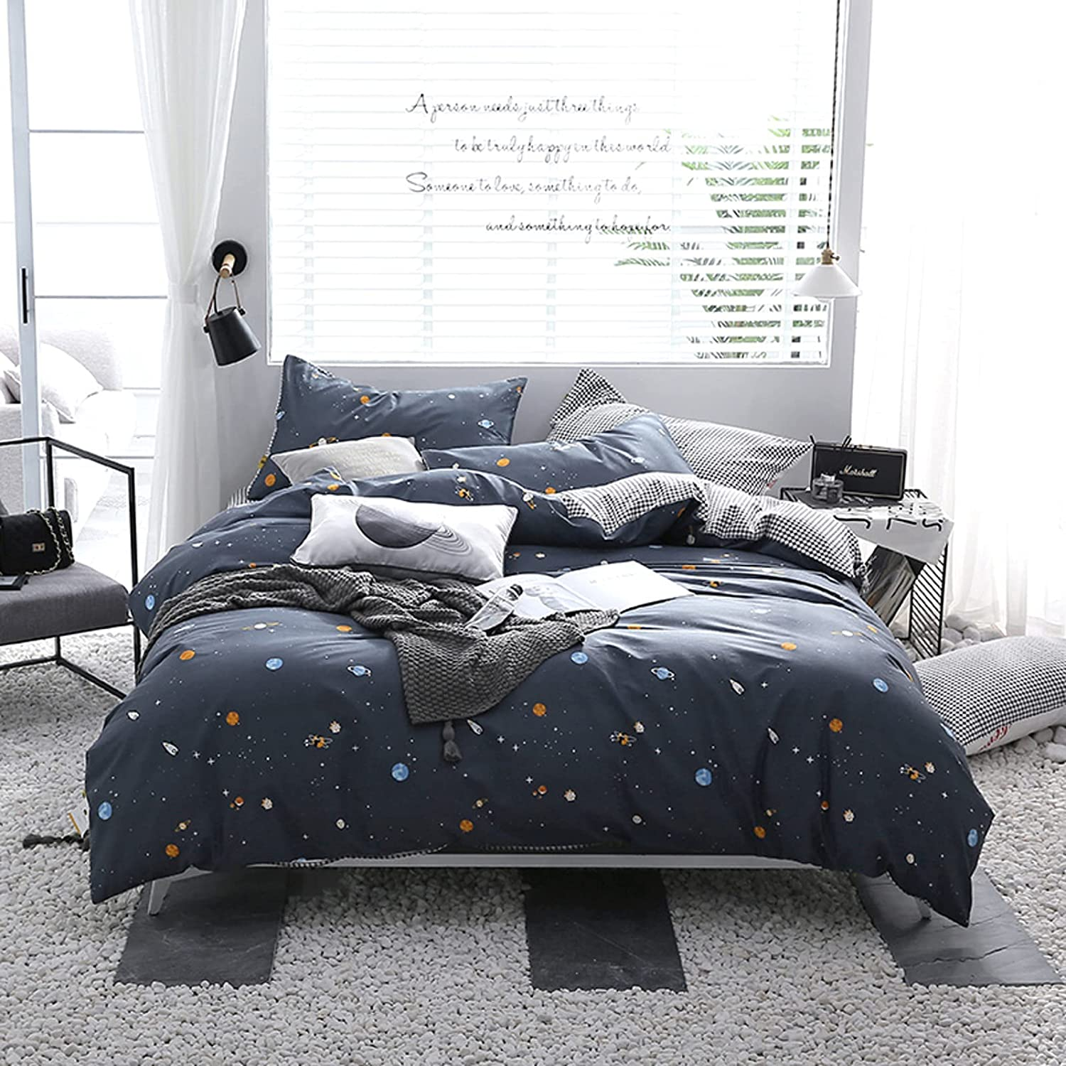 Store 100% Houston Mall Cotton Bedding Duvet Cover 3-4 Black Piece W Double and Set