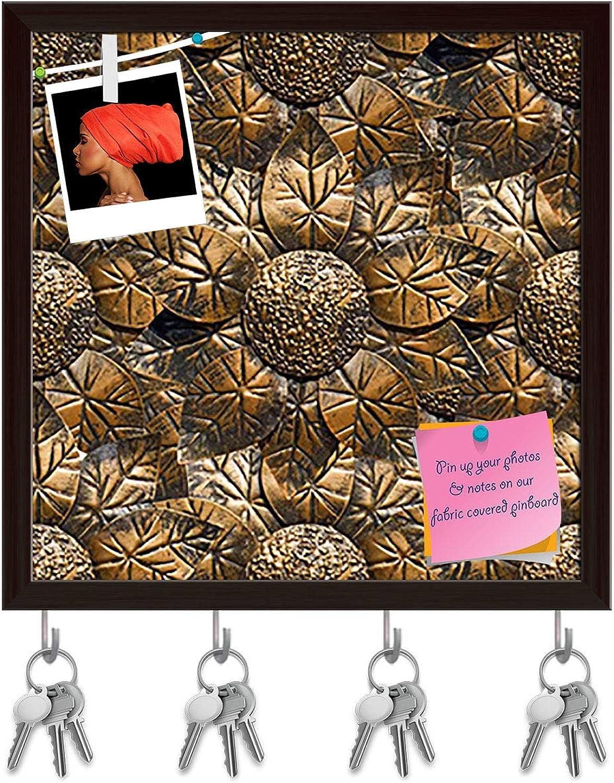Artzfolio Sunflower D7 Key Holder Hooks   Notice Pin Board   Dark Brown Frame 20 X 20Inch