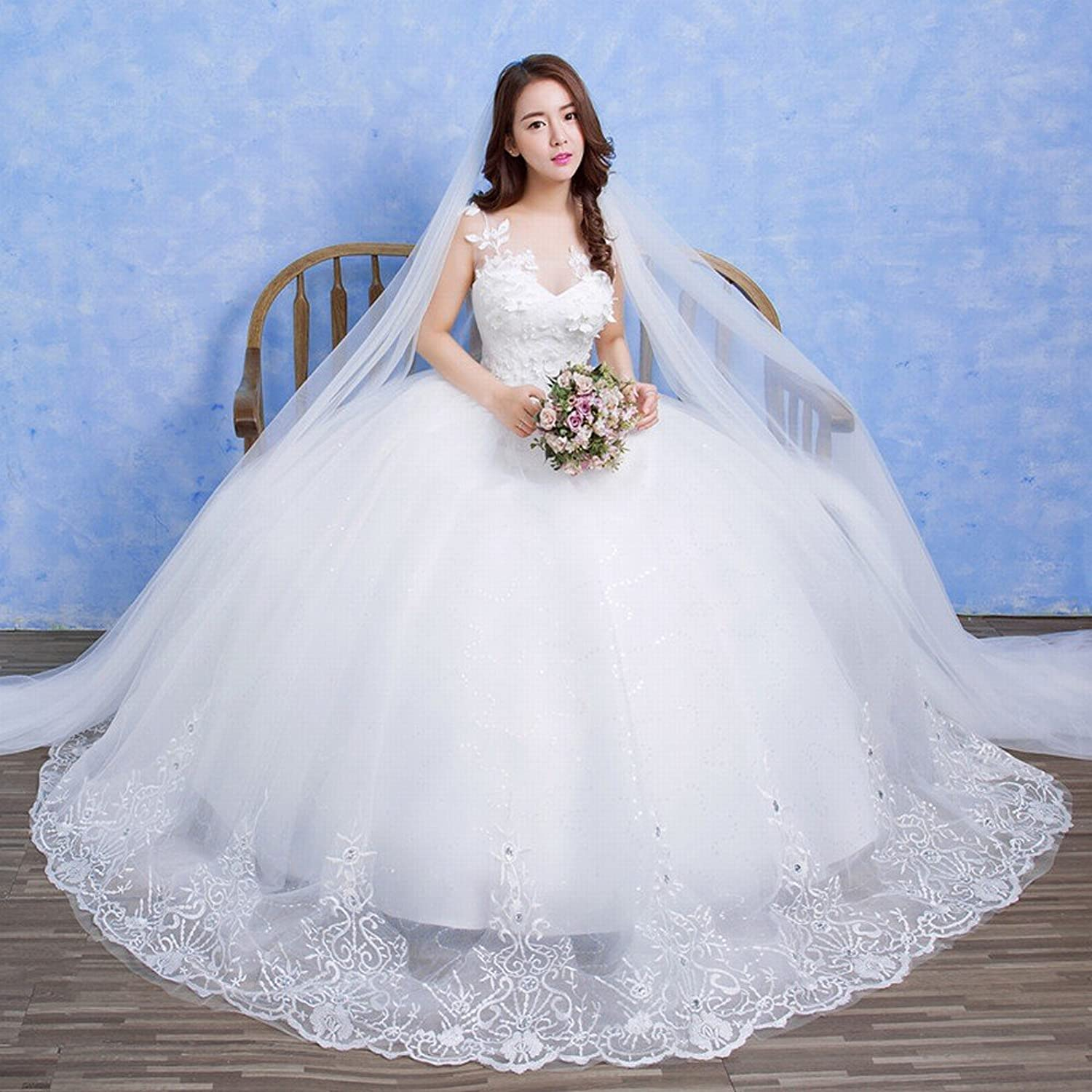 DIDIDD Bride Slim Thin White Wedding Dress