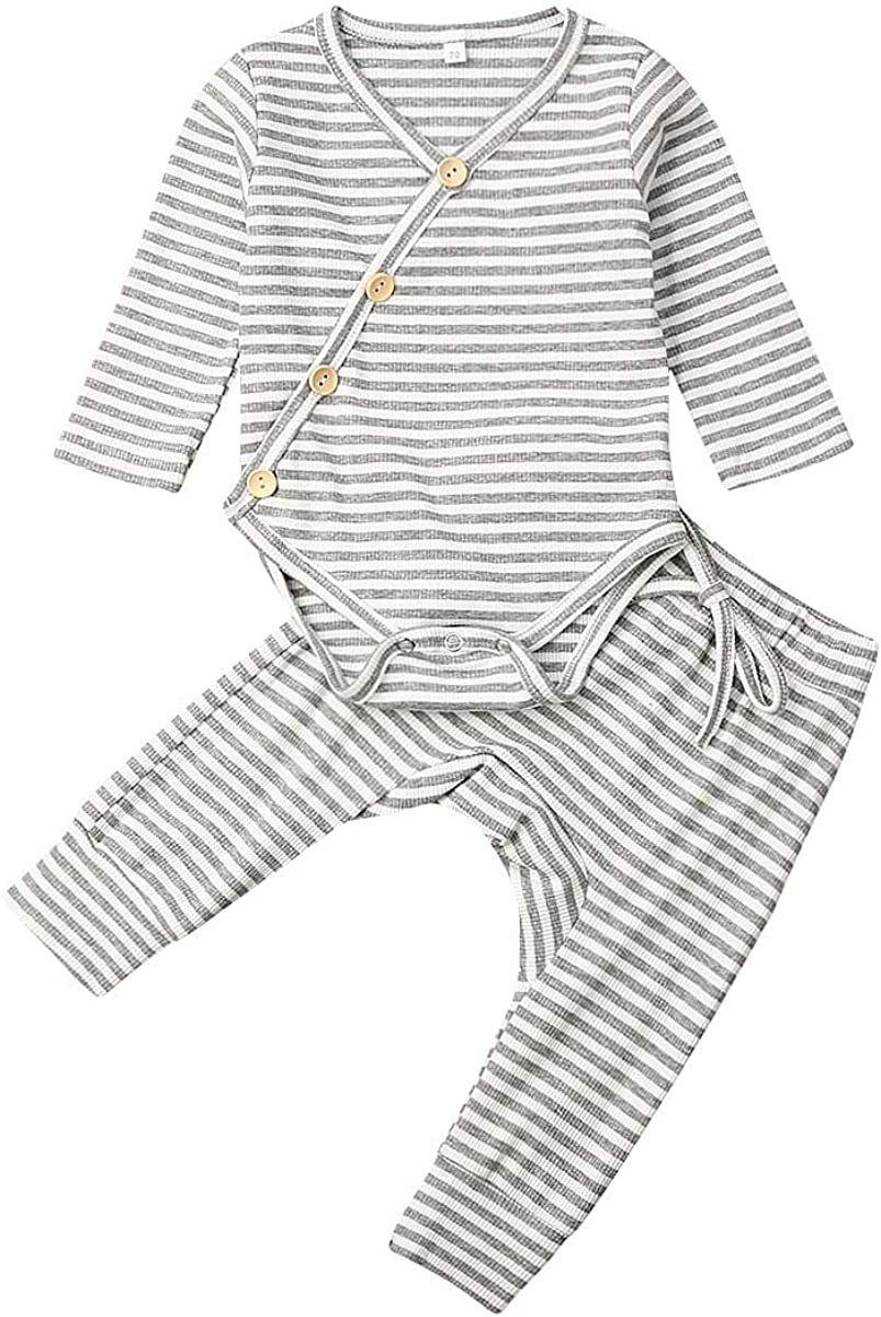 lang/ärmlig gerippt Geagodelia Schlafanzug aus Baumwolle 2 St/ück Unisex f/ür Neugeborene f/ür Neugeborene