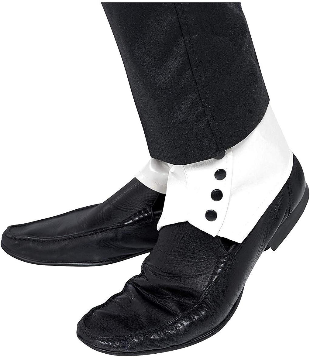 Bianco con Bottoni Neri Adulto Smiffys Costume Accessorio Spats