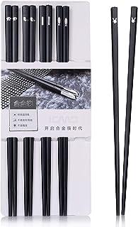 Sillas de comedor japonés 5 pares de palillos de aleación reutilizables estantes de comedor lavables para lavar vajilla Set de vajilla con estilo negro de lujo hecha a mano 5 estilo