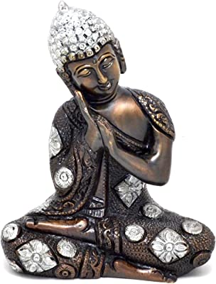 Two Moustaches Buddha Resting Silver Finish Brass Showpiece | Home Decor |