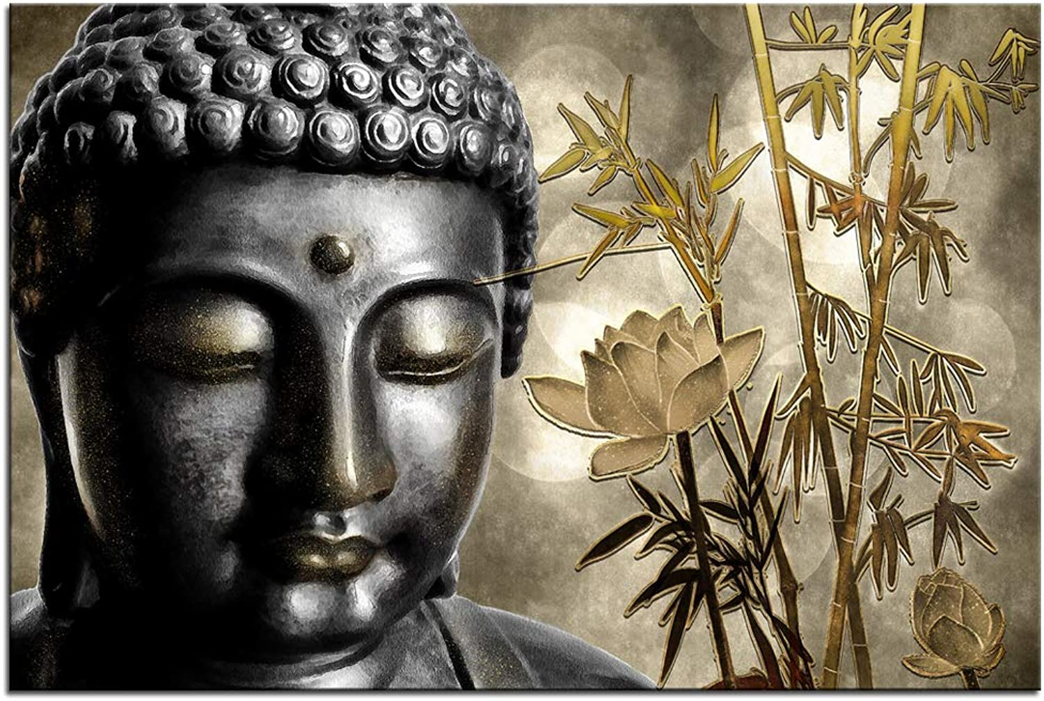 Sechars - Buddha Wall Art Canvas gold Bamboo Lotus Flower Picture Canvas Prints for Home Living Room Office Zen Wall Decor Paintings Stretched and Framed,24x36inch