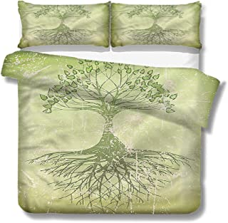 Mademai Twin Size Duvet Cover Set Tree of Life,Weathered Effect Roots for Kids/Teens/Adults Hidden Zipper Quilt Cover Printed