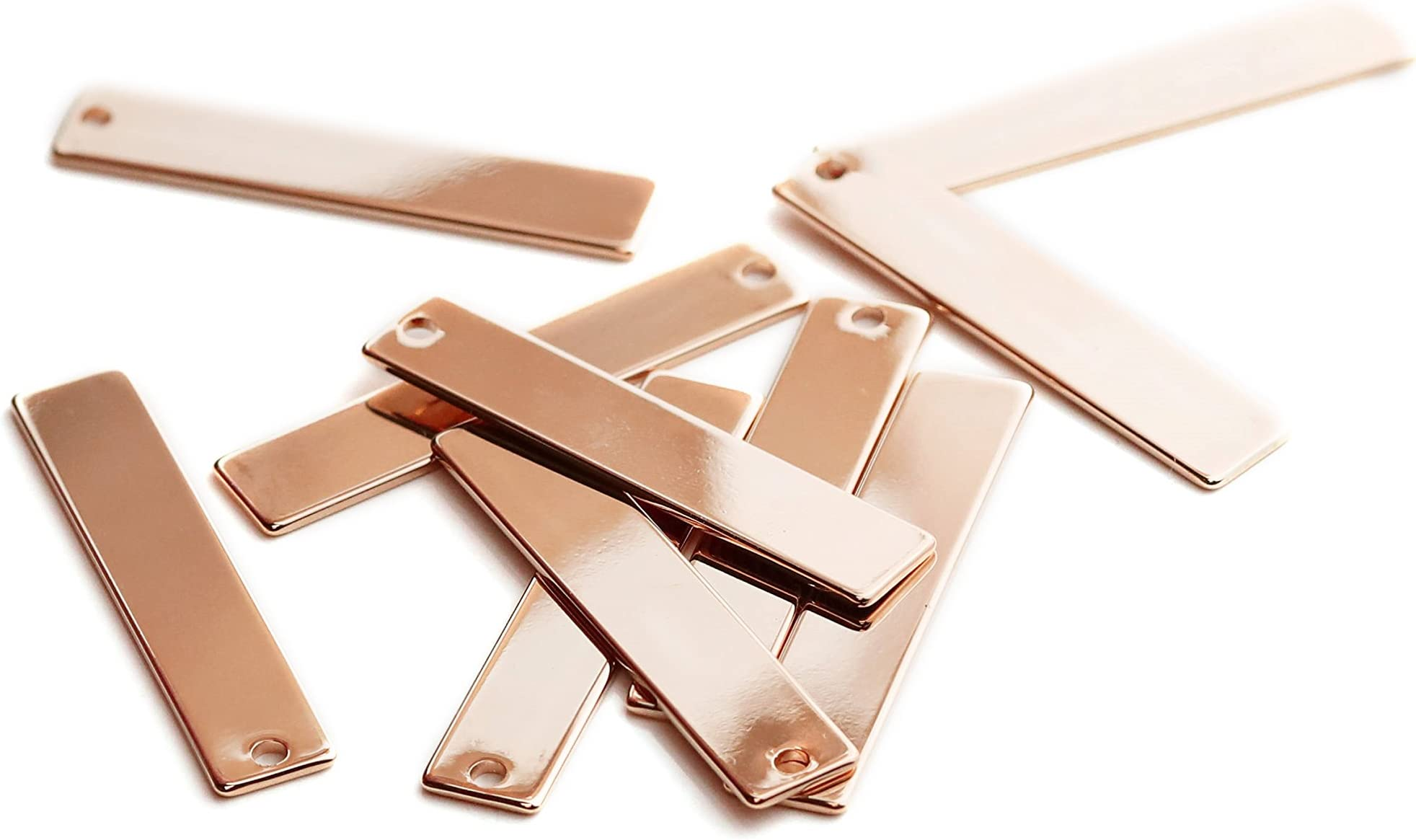 Blank Stamping Tag PKR01 5pcs Stamping Blanks Pendant Rose Gold Plated Horizontal Bar 40x8mm Stamping Rose Gold Bar Pendant