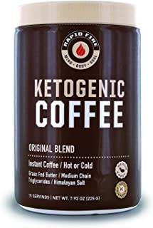 Rapid Fire Ketogenic Fair Trade Instant Keto Coffee Mix, Supports Energy & Metabolism, Weight Loss, Ketogenic Diet 7.93 oz. Canister (15 servings)