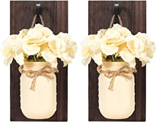 Mkono Wall Sconces Wood Boards Mason Jar Sconces Set with Hydrangea Flower Rustic Wall Decor Vintage Home Decor Cream Yellow (Set of 2)