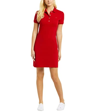 Lacoste Short Sleeve Slim Fit Stretch Pique Polo Dress (Merlot Red) Women