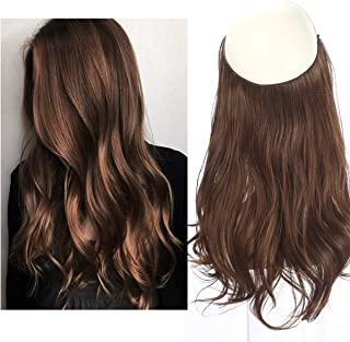 Brown Hair Extensions Halo Secret Invisiable Flip Hidden Wire Crown Natural Curly Long Synthetic Hairpiece For Women Japan Heat Temperature Fiber SARLA 18