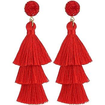 LEGITTA Tassel Earrings Layered Tiered Linear Drop Fashion Trending Earrings