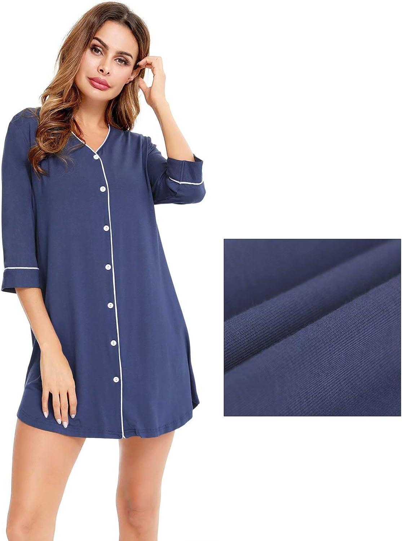 SWOMOG Women Button Down Nightshirt 3//4 Sleeve Nightgown Boyfriend Loungwear Soft Sleepwear V Neck Sleepdress