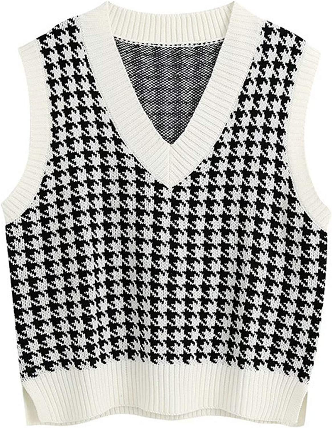 Women Oversized Houndstooth Sweater Vest Vintage Knitted V Neck Sleeveless Pullover Loose 90s Knitwear Tank Tops