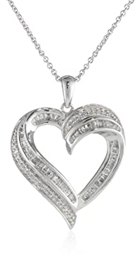 """Sterling Silver Diamond Heart Pendant Necklace (1/2 cttw), 18"""""""