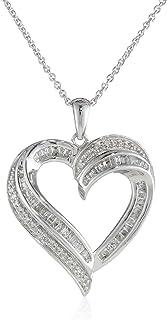 """گردنبند آویز قلب الماس استرلینگ (1/2 cttw) ، 18 """""""